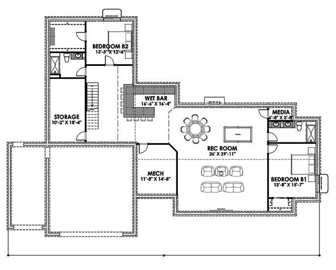 Farmhouse Floor Plan - 3 Bedrms, 3 Baths - 3036 Sq Ft - #194-1022