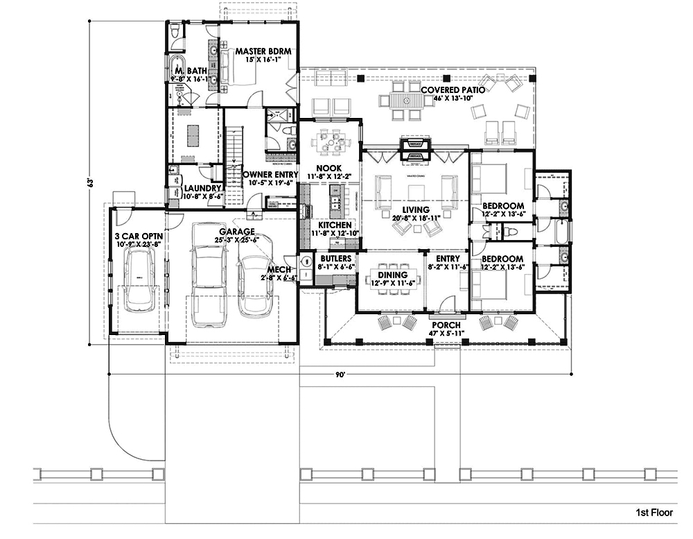 Farmhouse floor plan 3 bedrms 3 baths 3036 sq ft How much to build a craftsman style home