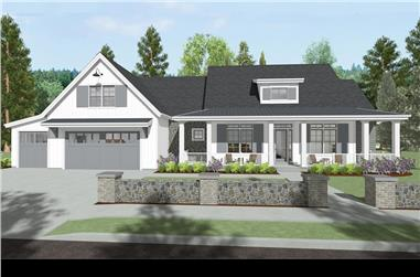 Front elevation of Farmhouse home (ThePlanCollection: House Plan #194-1022)