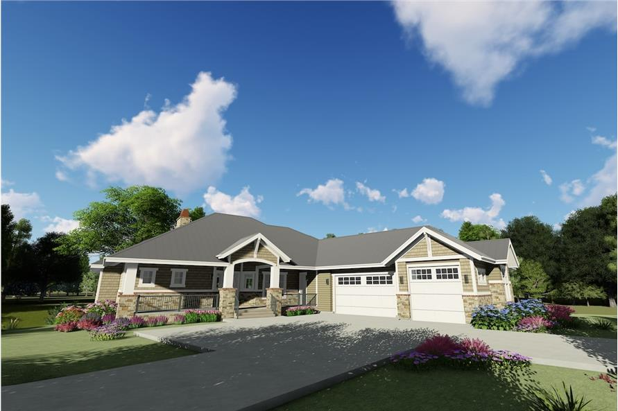 Home Plan 3D Image of this 2-Bedroom,2318 Sq Ft Plan -194-1025