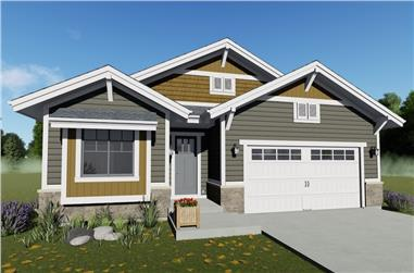 2-Bedroom, 1378 Sq Ft Craftsman Home Plan - 194-1028 - Main Exterior