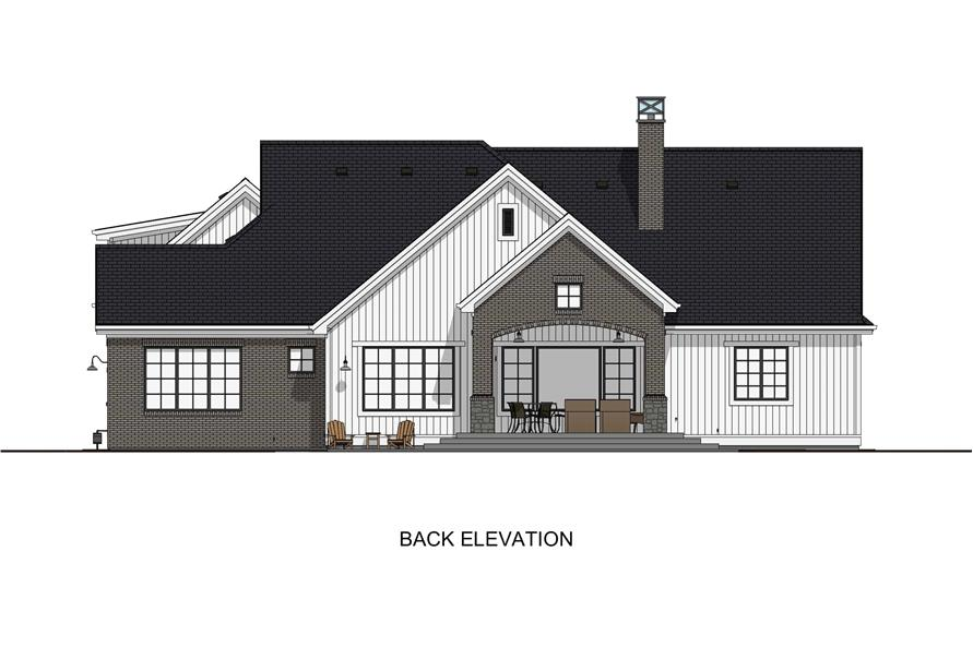 Home Plan Rear Elevation of this 6-Bedroom,4702 Sq Ft Plan -194-1032
