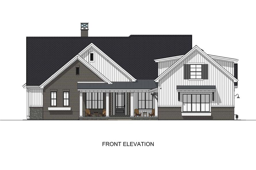 Home Plan Front Elevation of this 6-Bedroom,4702 Sq Ft Plan -194-1032
