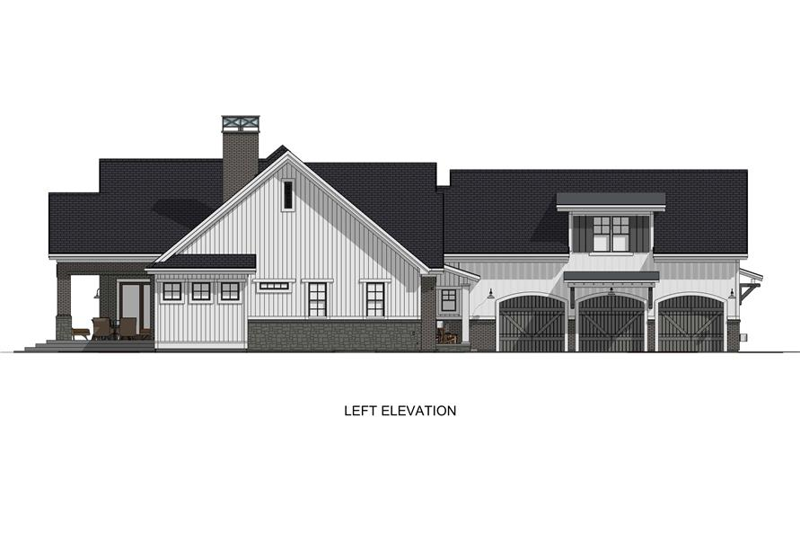Home Plan Left Elevation of this 6-Bedroom,4702 Sq Ft Plan -194-1032