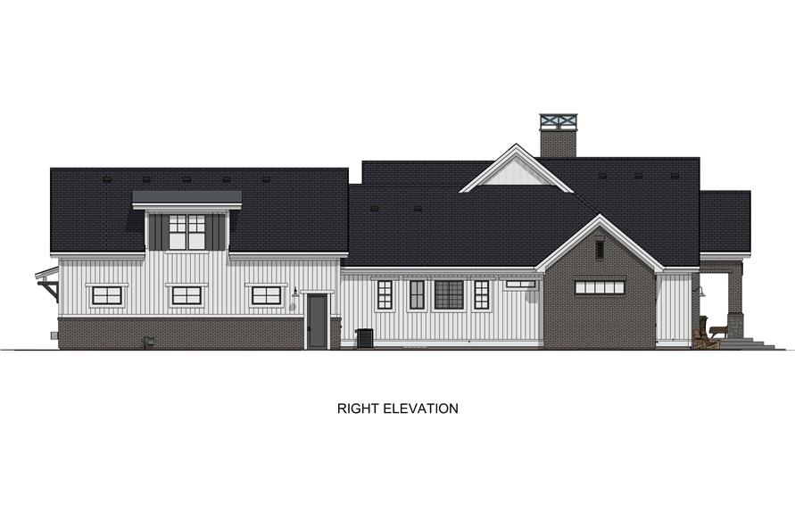 Home Plan Right Elevation of this 6-Bedroom,4702 Sq Ft Plan -194-1032
