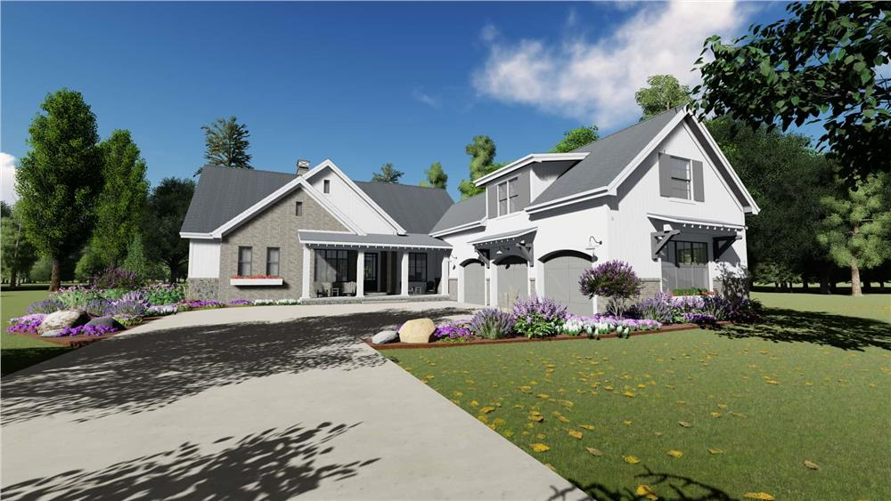 Front elevation of Modern Farmhouse home (ThePlanCollection: House Plan #194-1032)