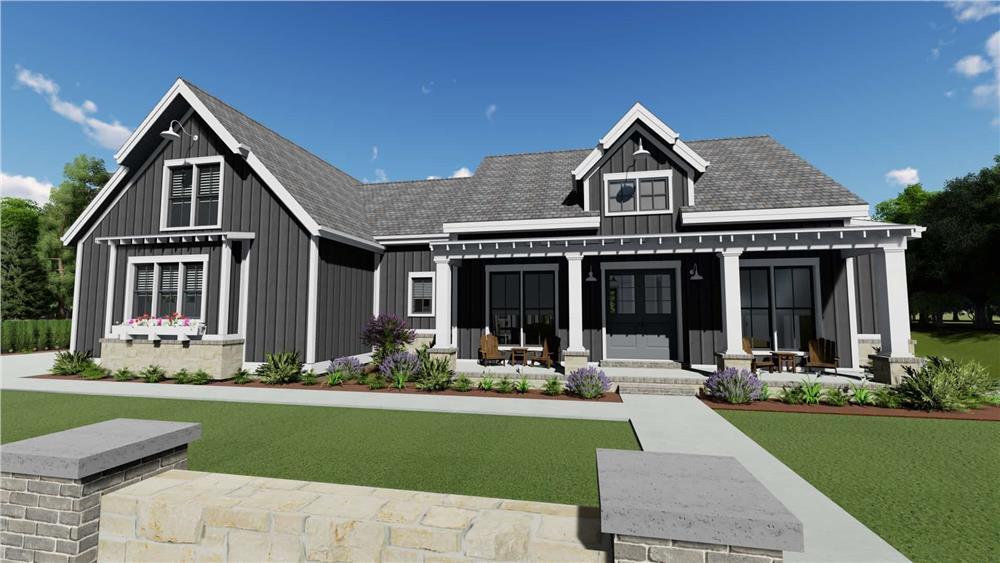 Farmhouse home (ThePlanCollection: Plan #194-1034)