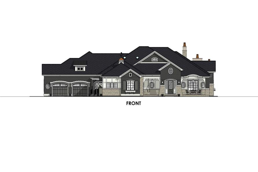 Home Plan Front Elevation of this 4-Bedroom,3433 Sq Ft Plan -194-1042