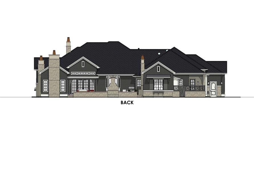 Home Plan Rear Elevation of this 4-Bedroom,3433 Sq Ft Plan -194-1042