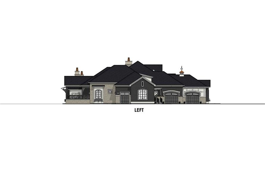 Home Plan Left Elevation of this 4-Bedroom,3433 Sq Ft Plan -194-1042