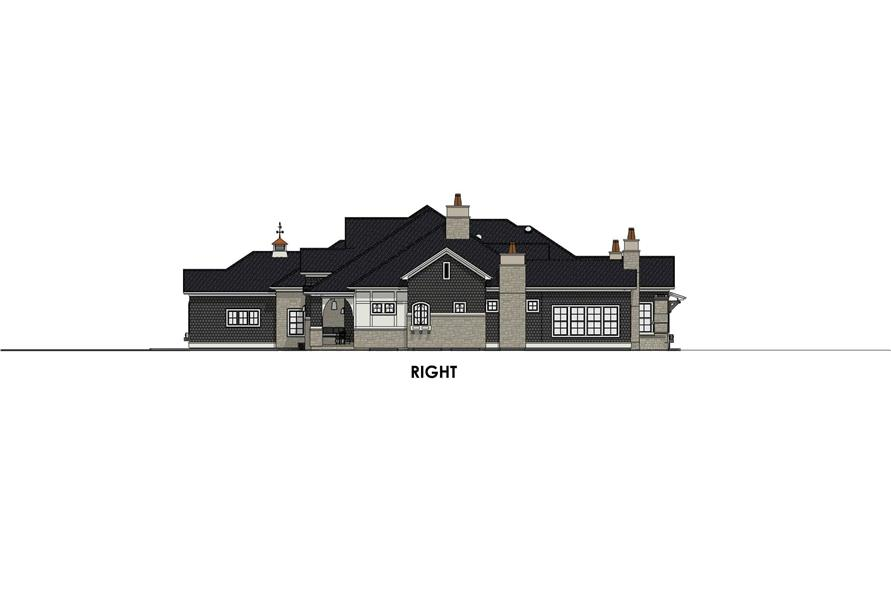 Home Plan Right Elevation of this 4-Bedroom,3433 Sq Ft Plan -194-1042