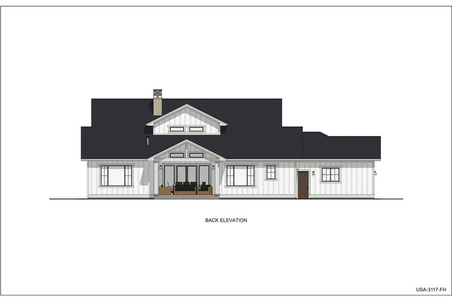 Home Plan Rear Elevation of this 5-Bedroom,3117 Sq Ft Plan -194-1048
