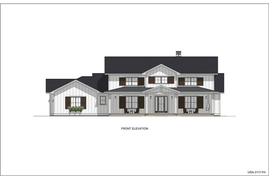 Home Plan Front Elevation of this 5-Bedroom,3117 Sq Ft Plan -194-1048