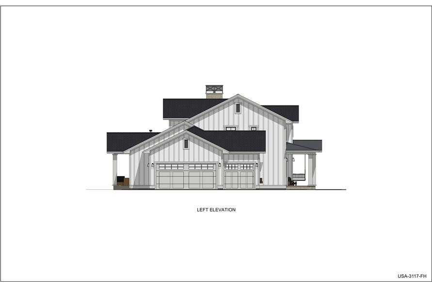 Home Plan Left Elevation of this 5-Bedroom,3117 Sq Ft Plan -194-1048