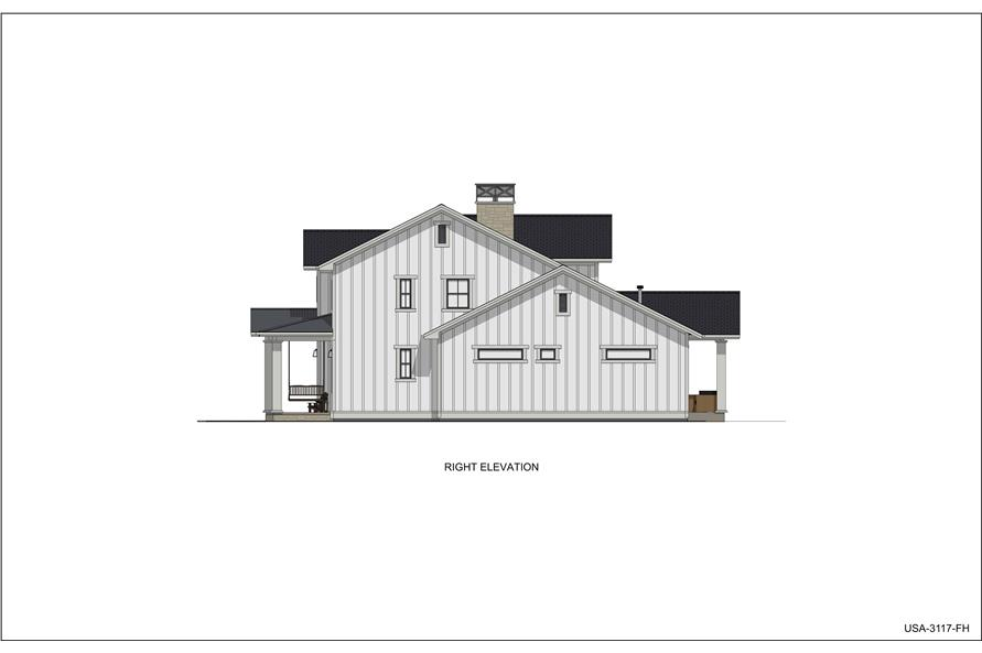 Home Plan Right Elevation of this 5-Bedroom,3117 Sq Ft Plan -194-1048