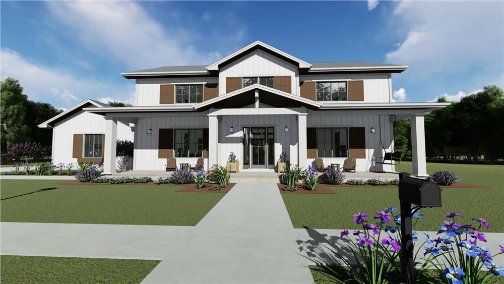 Farmhouse home (ThePlanCollection: Plan #194-1048)