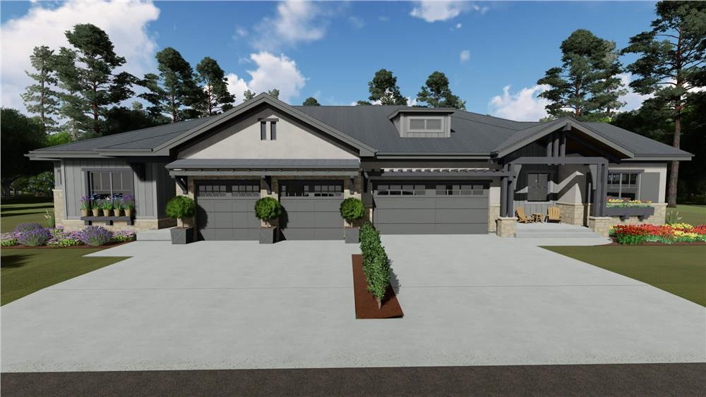 Ranch duplex home (ThePlanCollection: Plan #194-1056)