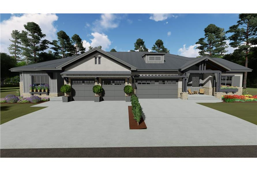 Ranch duplex home (ThePlanCollection: Plan #194-1056)