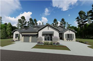 2-Bedroom per unit, 3692 Sq Ft Ranch Multi-Unit House - Plan #194-1057 - Front Exterior
