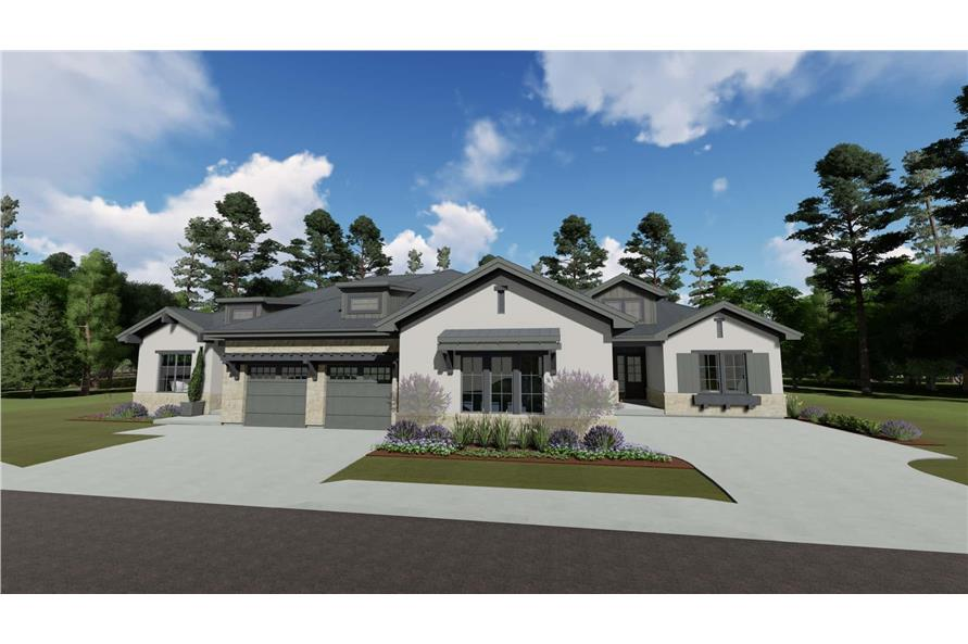 2-Bedroom per unit, 3692 Sq Ft Ranch Multi-Unit House - Plan #194-1057 - Front Exterior