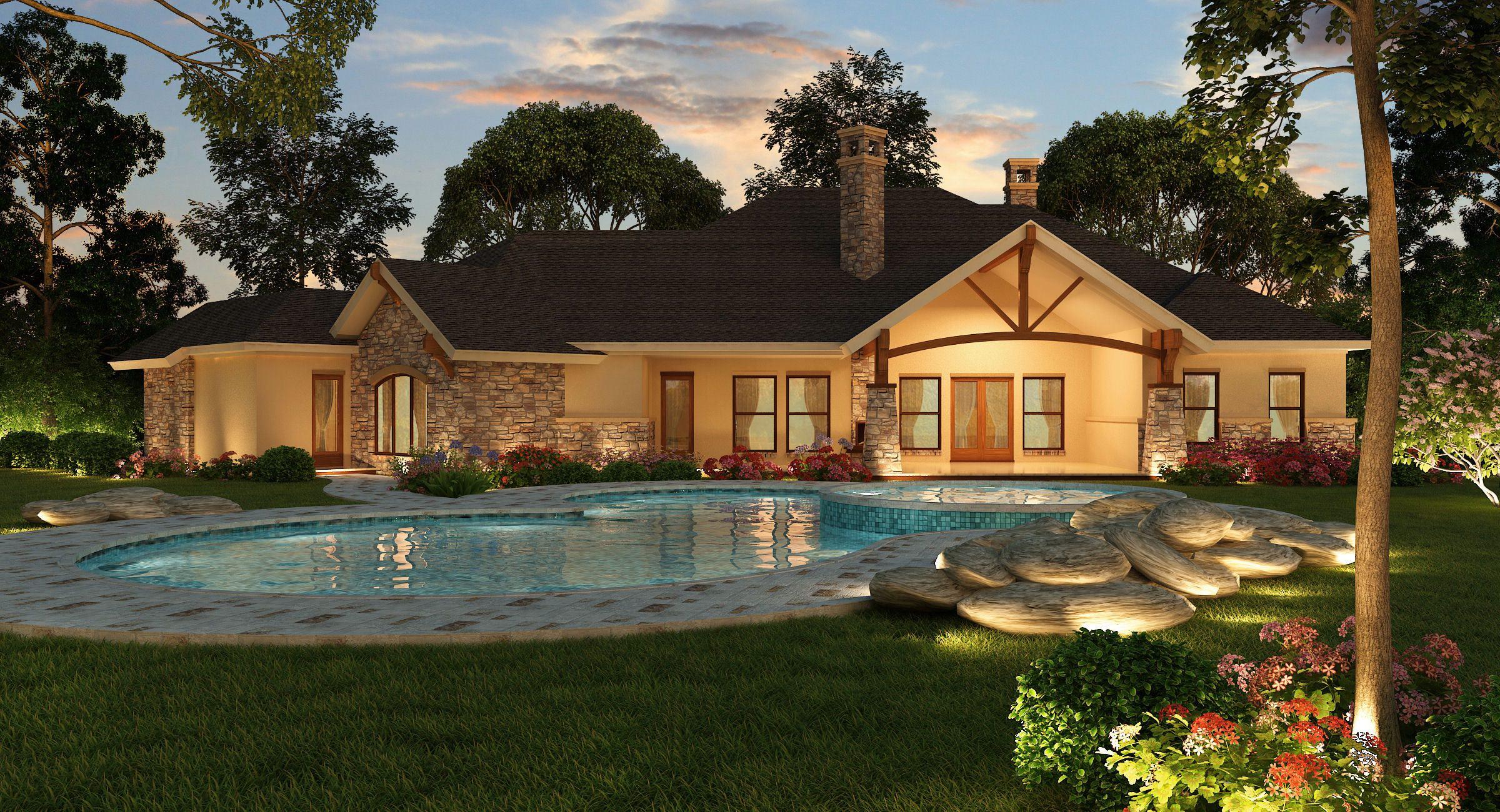 4 Bedrm 3584 Sq Ft Ranch House Plan 195 1000