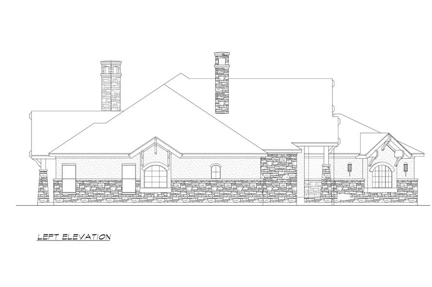 Home Plan Left Elevation of this 4-Bedroom,3584 Sq Ft Plan -195-1000