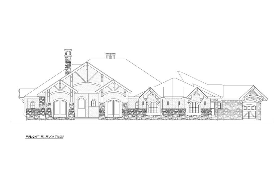 Home Plan Front Elevation of this 4-Bedroom,3584 Sq Ft Plan -195-1000