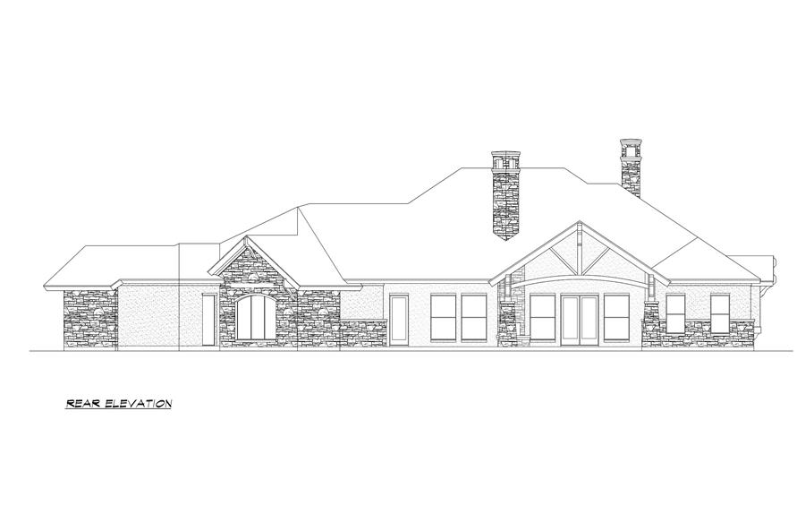 Home Plan Rear Elevation of this 4-Bedroom,3584 Sq Ft Plan -195-1000