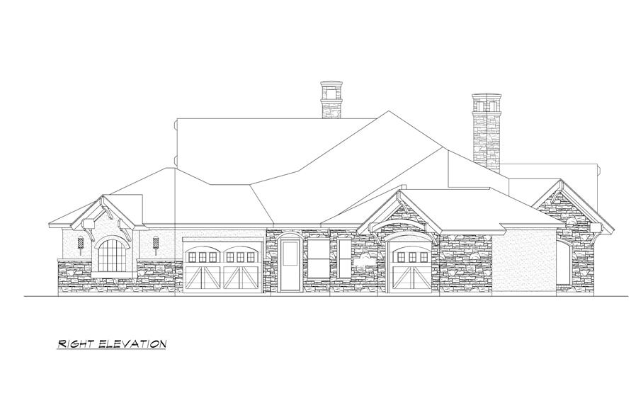 Home Plan Right Elevation of this 4-Bedroom,3584 Sq Ft Plan -195-1000