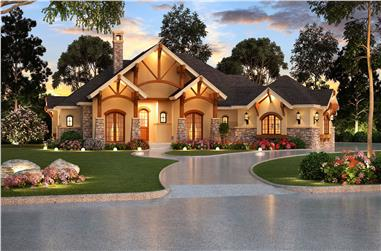 Rendering of Ranch style home plan with Craftsman influences (ThePlanCollection: House Plan #195-1000)
