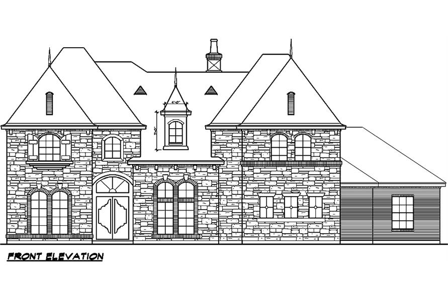 Home Plan Front Elevation of this 5-Bedroom,5327 Sq Ft Plan -195-1005