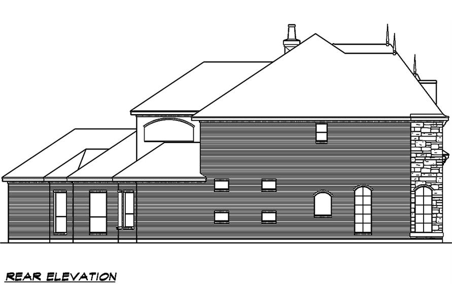 Home Plan Rear Elevation of this 5-Bedroom,5327 Sq Ft Plan -195-1005