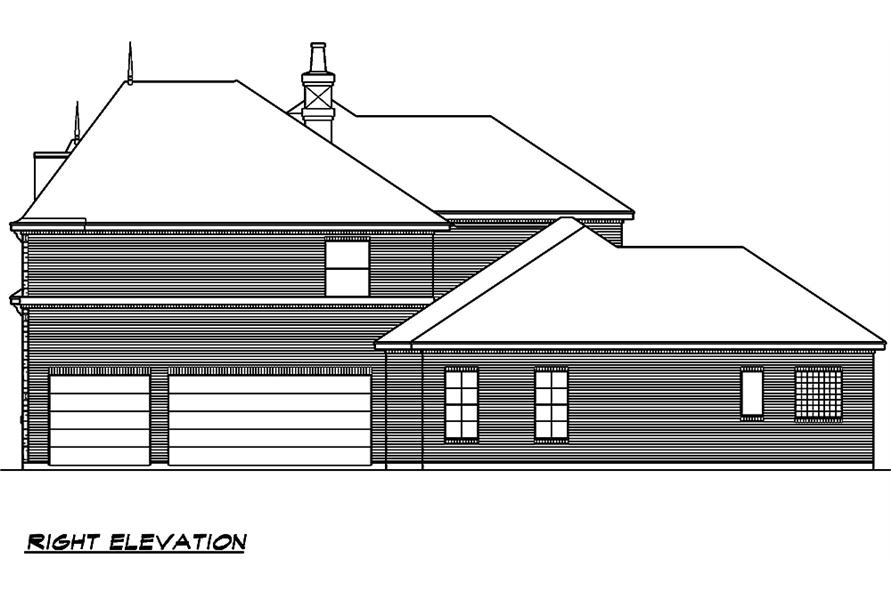 Home Plan Right Elevation of this 5-Bedroom,5327 Sq Ft Plan -195-1005