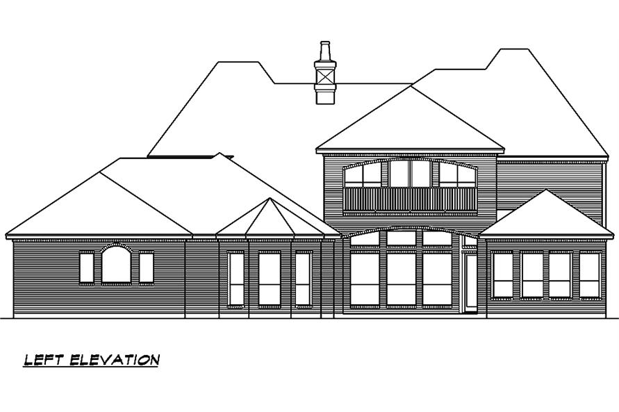 Home Plan Left Elevation of this 5-Bedroom,5327 Sq Ft Plan -195-1005
