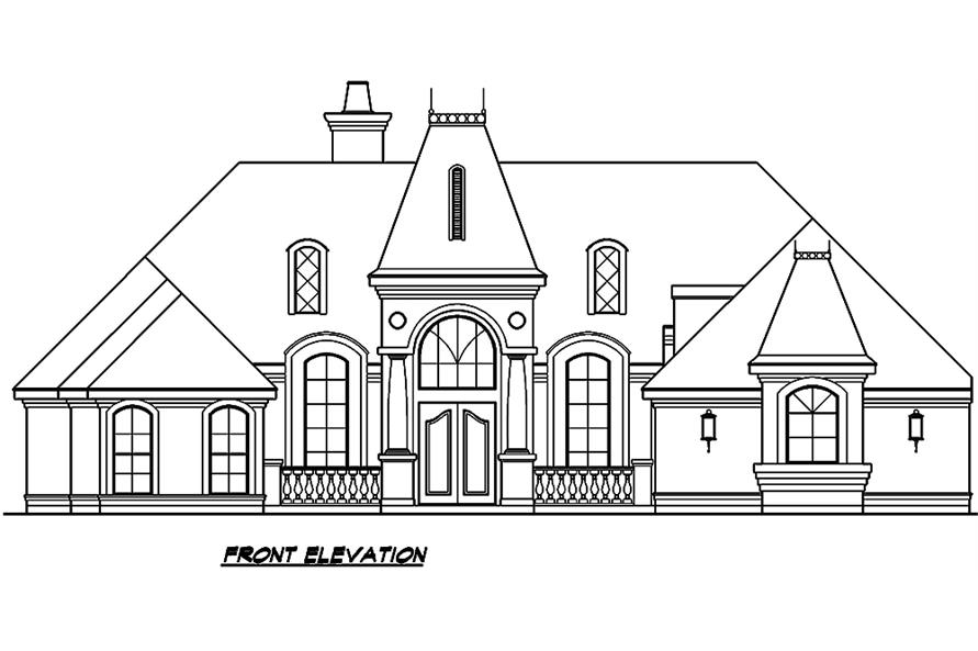 Home Plan Front Elevation of this 3-Bedroom,3329 Sq Ft Plan -195-1006