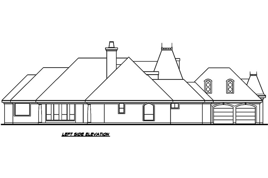 Home Plan Left Elevation of this 3-Bedroom,3329 Sq Ft Plan -195-1006