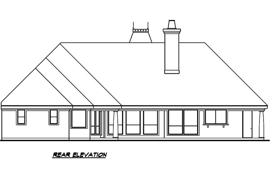 Home Plan Rear Elevation of this 3-Bedroom,3329 Sq Ft Plan -195-1006