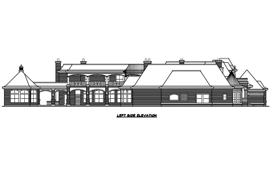Home Plan Left Elevation of this 7-Bedroom,15079 Sq Ft Plan -195-1012