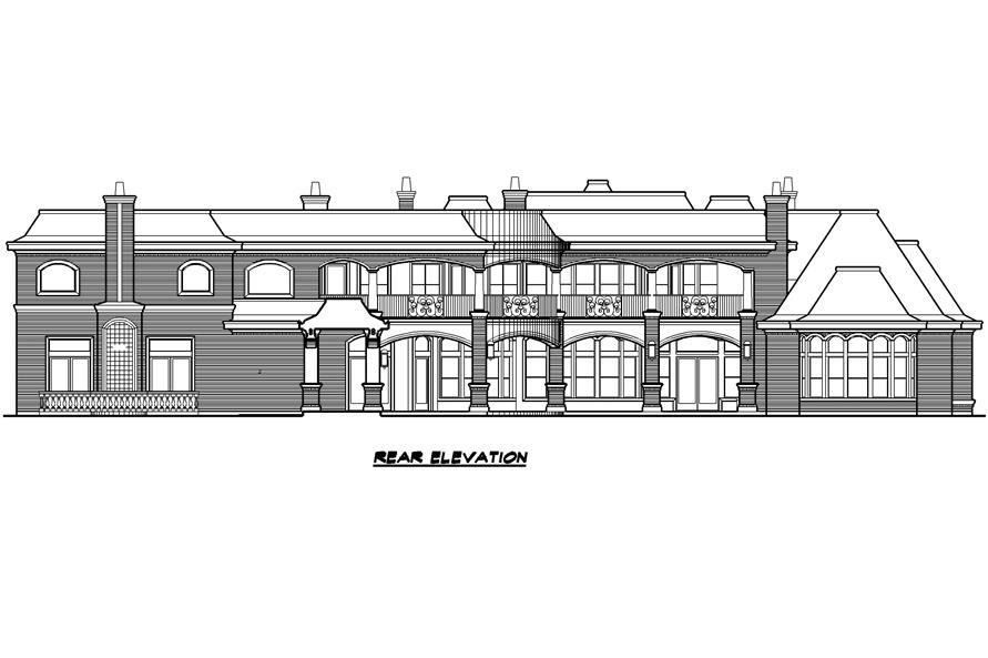 Home Plan Rear Elevation of this 7-Bedroom,15079 Sq Ft Plan -195-1012