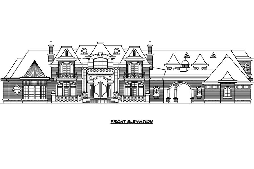Home Plan Front Elevation of this 7-Bedroom,15079 Sq Ft Plan -195-1012
