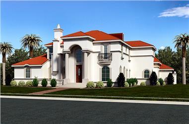 4-Bedroom, 3245 Sq Ft Mediterranean Home Plan - 195-1013 - Main Exterior