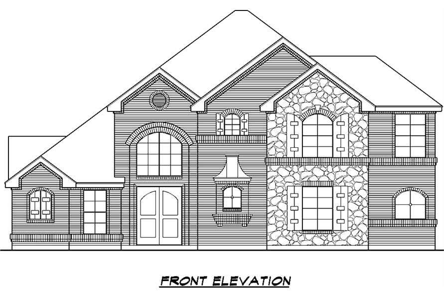 195-1014: Home Plan Front Elevation