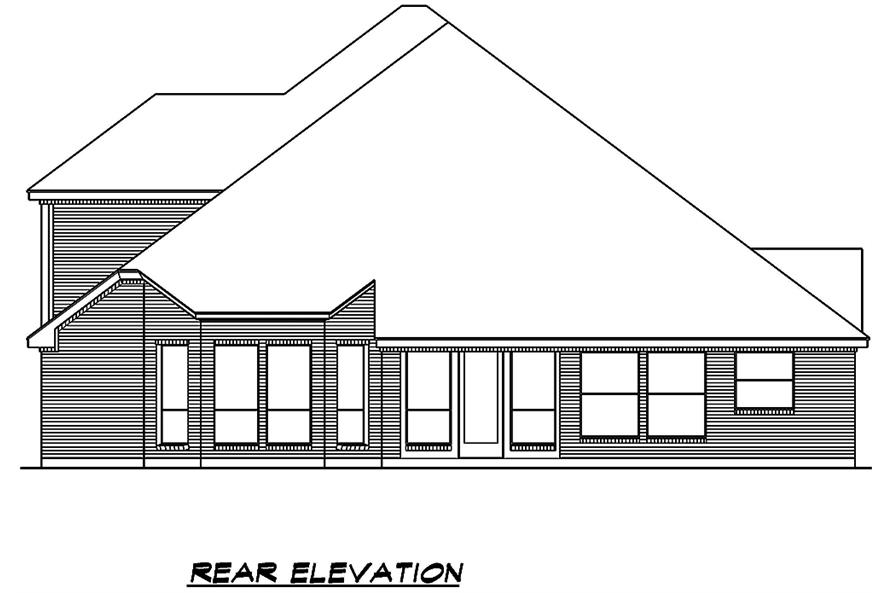 195-1014: Home Plan Rear Elevation