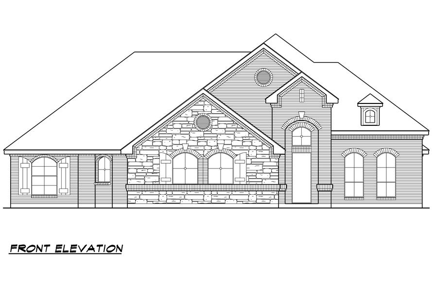 Home Plan Front Elevation of this 4-Bedroom,2929 Sq Ft Plan -195-1023