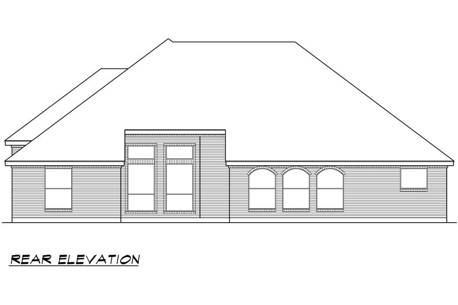 Home Plan Rear Elevation of this 4-Bedroom,2929 Sq Ft Plan -195-1023