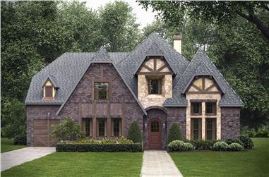 Color photo-realistic rendering of Tudor style home plan (House Plan #195-1025) at The Plan Collection.
