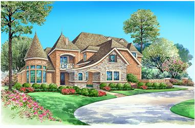 4-Bedroom, 3943 Sq Ft Luxury House Plan - 195-1027 - Front Exterior