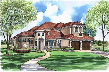 3-Bedroom, 4310 Sq Ft Mediterranean House Plan - 195-1028 - Front Exterior