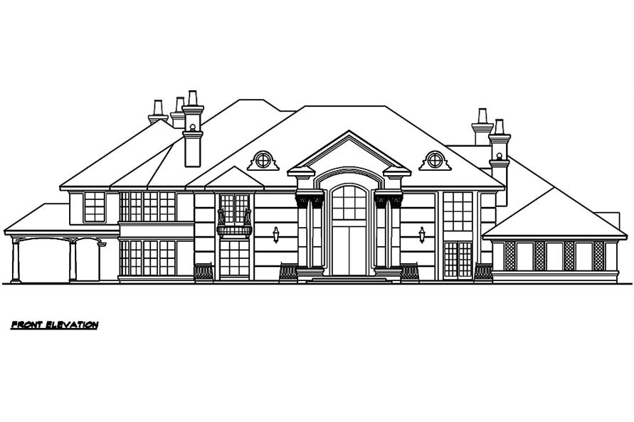 Home Plan Front Elevation of this 5-Bedroom,10325 Sq Ft Plan -195-1029