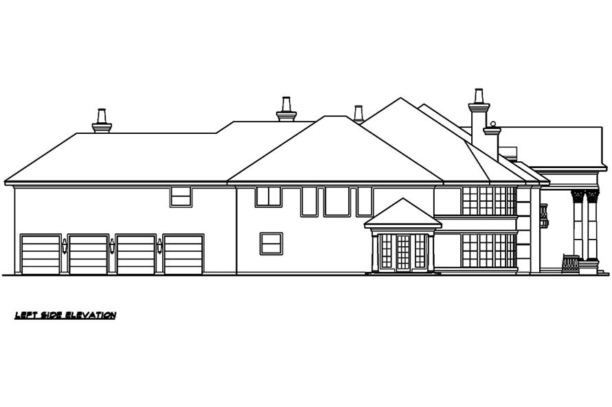 Home Plan Left Elevation of this 5-Bedroom,10325 Sq Ft Plan -195-1029